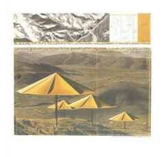 1991 Javacheff Christo 'The Yellow Umbrellas' Contemporary Yellow,Gray,White,Bro