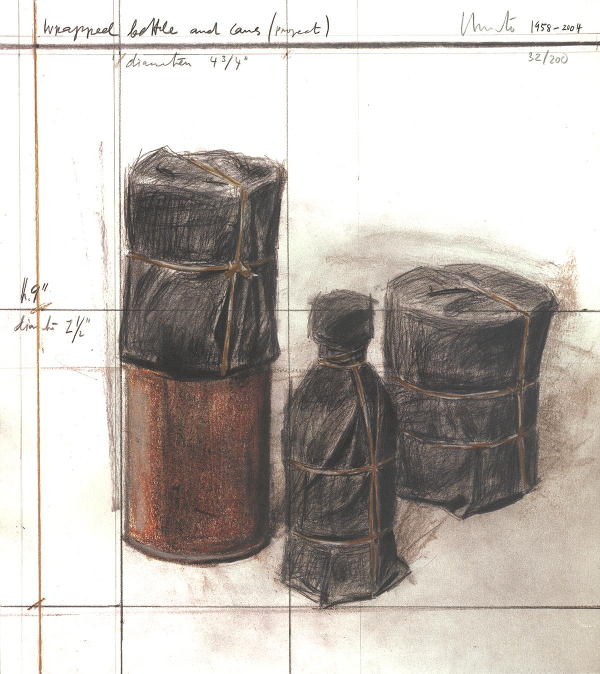"""Javacheff Christo-Wrapped Bottle and Cans (project)-15.25"""" x 13.75""""-Lithograph"""