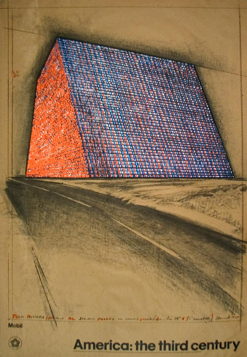 """Javacheff Christo-Wrapped Oil Barrels, Texas-35"""" x 24""""-Lithograph-1976"""