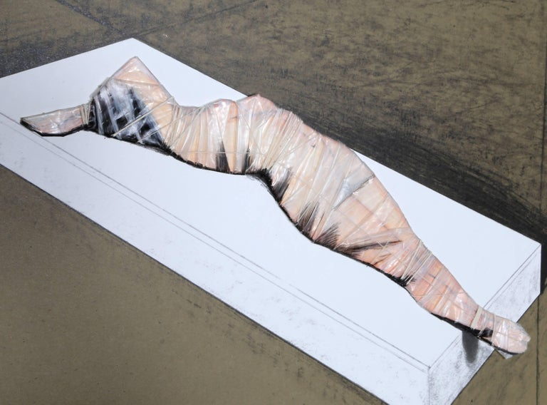 Wrapped Woman for the Institute of Contemporary Art.  University of Pennsylvania - Black Nude Print by Javacheff Christo