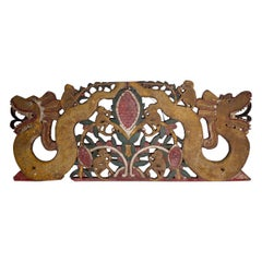 Javanese Large Wood Plaque Gong Top or Architecture Piece Indonesian Art