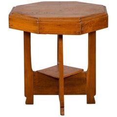 Javanese Teak Art Deco Style Vintage Table with Octagonal Top and Lower Shelf
