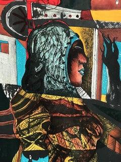 FEMME, Original Stone Lithograph, Surreal Portrait, Magic Realism, Mexican Art