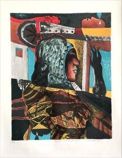 FEMME Signed Lithograph Surreal Portrait, Dark Shadows, Blue Lips, Latin Art