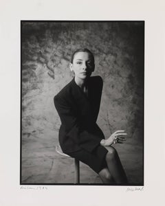Muriel Grateau, Milano, 1984. Portrait of a woman, black and white photography