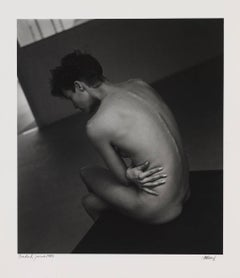 Nude. Javier Vallhonrat 1983 portrait of a man in black and white photography