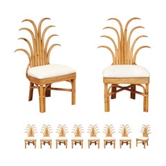Jaw-Dropping Set of 10 Custom Made Palm Frond Dining Chairs, circa 1950