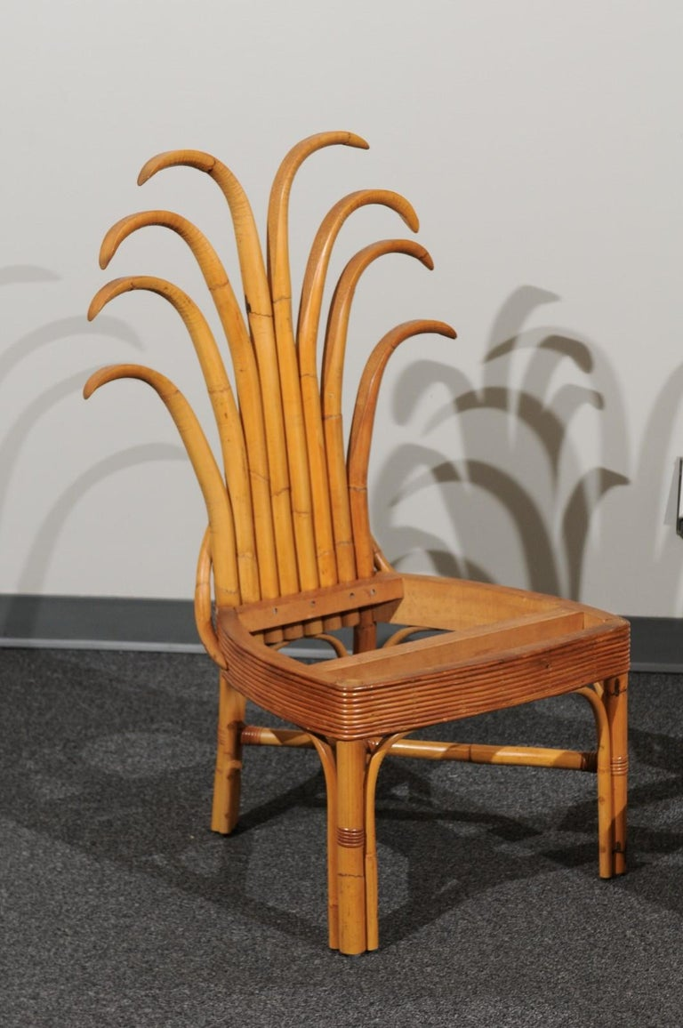 Jaw-Dropping Set of 12 Custom Made Palm Frond Dining Chairs, circa 1950 For Sale 11