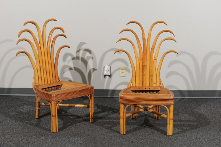 Mid-Century Modern Jaw-Dropping Set of 12 Custom Made Palm Frond Dining Chairs, circa 1950 For Sale