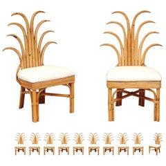 Jaw-Dropping Set of 12 Custom Made Palm Frond Dining Chairs, circa 1950