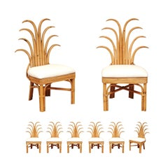 Jaw-Dropping Set of 8 Custom Made Palm Frond Dining Chairs, circa 1950