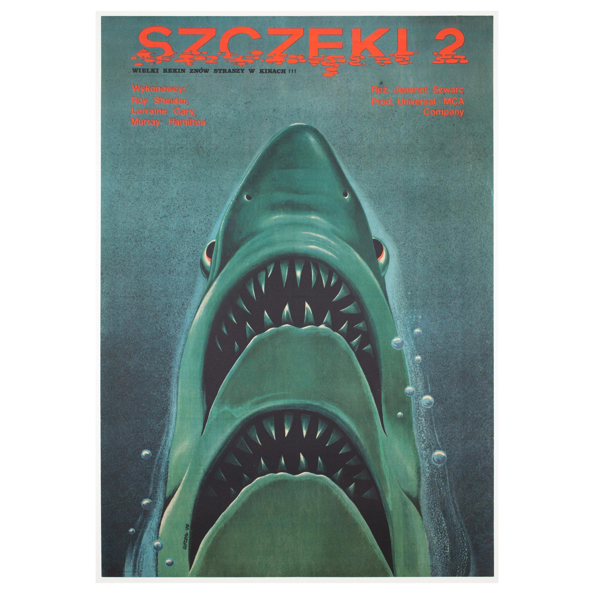 Jaws 2 1979 Polish B1 Film Movie Poster, Lutczyn