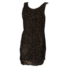 Jay Ahr Black Silk and Brown Sequin Cocktail Dress Size Small