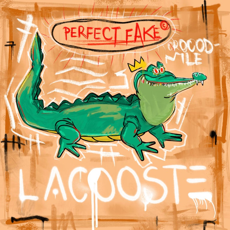Jay-C Animal Print - Perfect Fake, Pop Art, Street Art, Croco, Lacoste, Basquiat, Painting