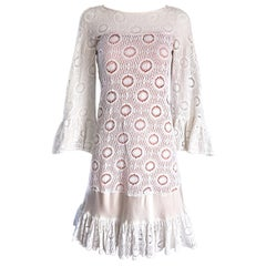 Jay Morley for Fern Violette 1960s Ivory Crochet Boho Bell Sleeve A Line Dress