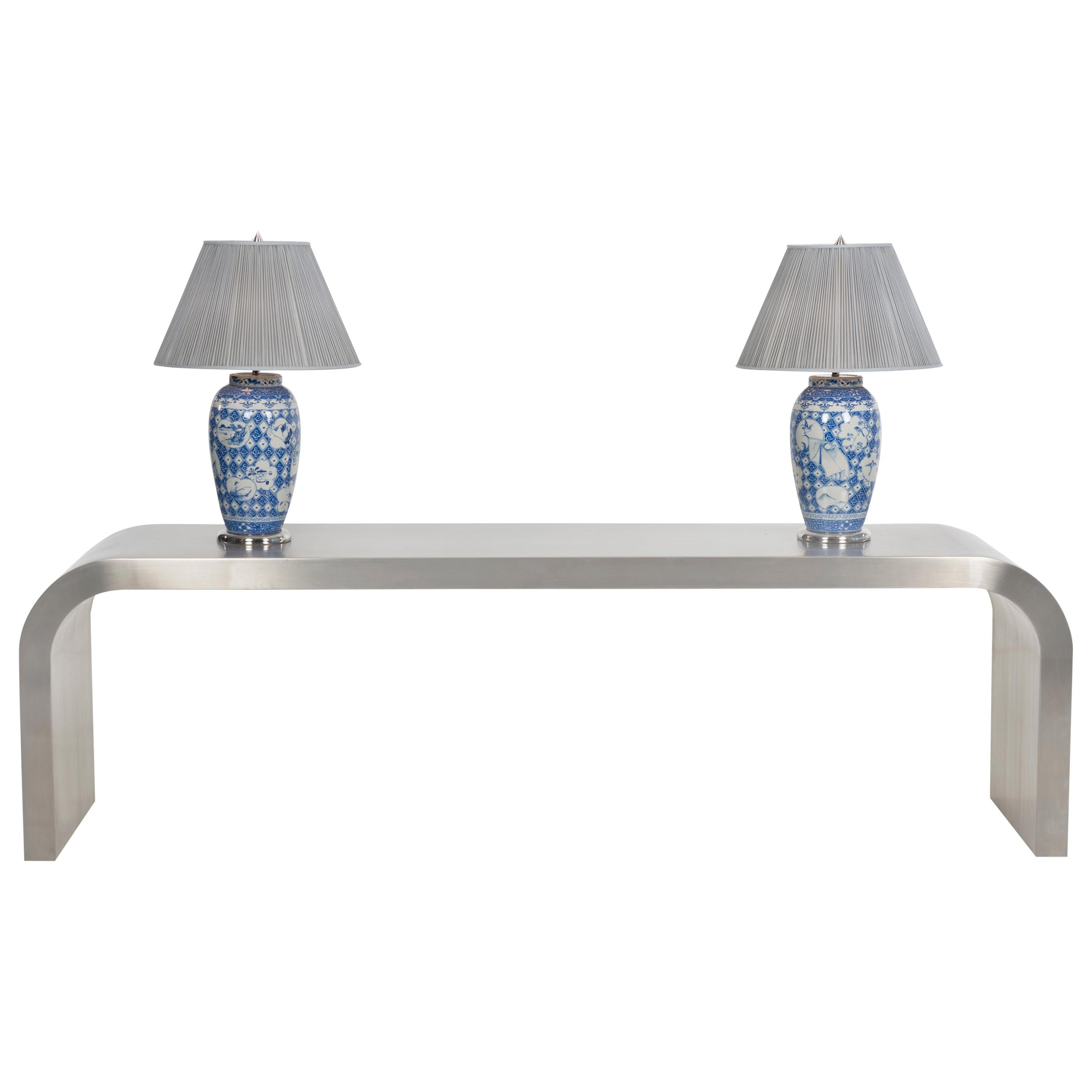 Jay Spectre Custom Console and Pair of Lamps