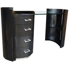 Jay Spectre Eclipse Black Oak Barrel Desk Vanity Glass Top with Book Shelf