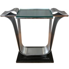 Jay Spectre for Century Furniture Polished and Brushed Steel Console Table
