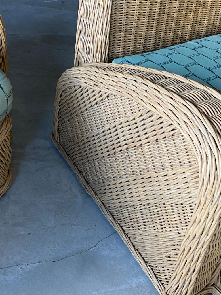 Jay Spectre, Lounge Chairs, Rattan / Wicker Fabric, Century United States, 1980s For Sale 6