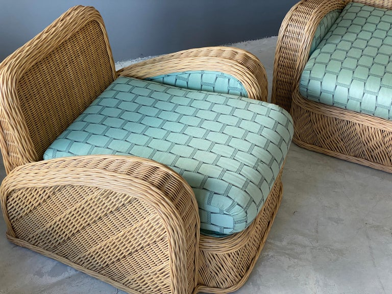 Jay Spectre, Lounge Chairs, Rattan / Wicker Fabric, Century United States, 1980s In Good Condition For Sale In West Palm Beach, FL