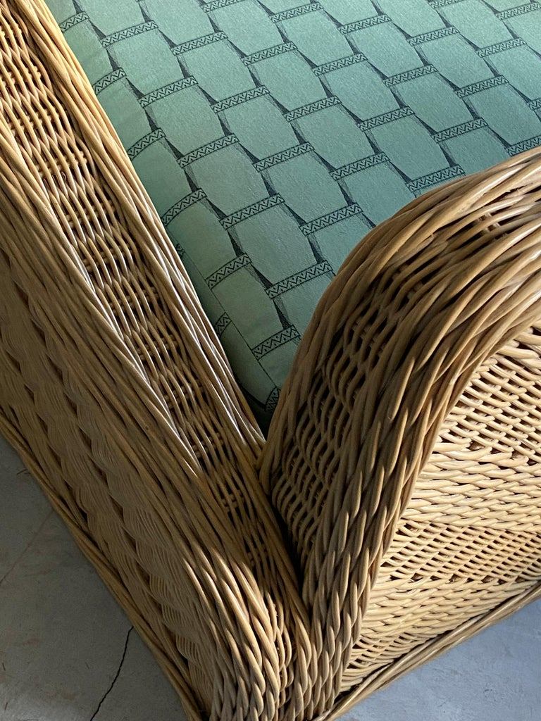 Jay Spectre, Lounge Chairs, Rattan / Wicker Fabric, Century United States, 1980s For Sale 1