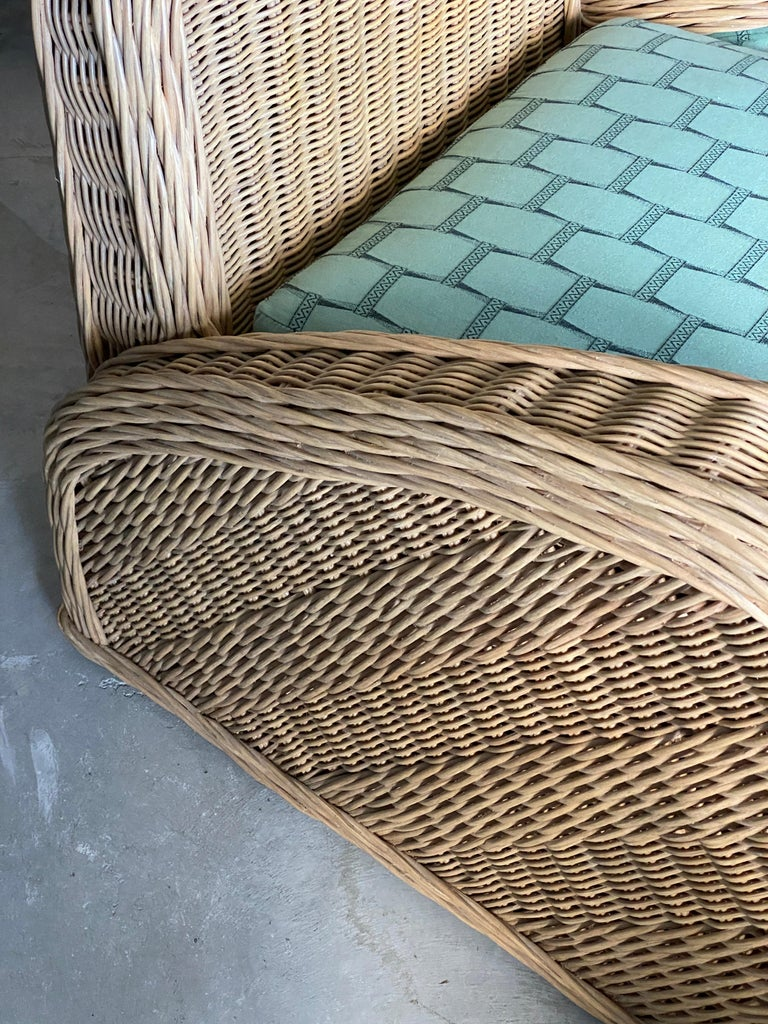 Jay Spectre, Lounge Chairs, Rattan / Wicker Fabric, Century United States, 1980s For Sale 2