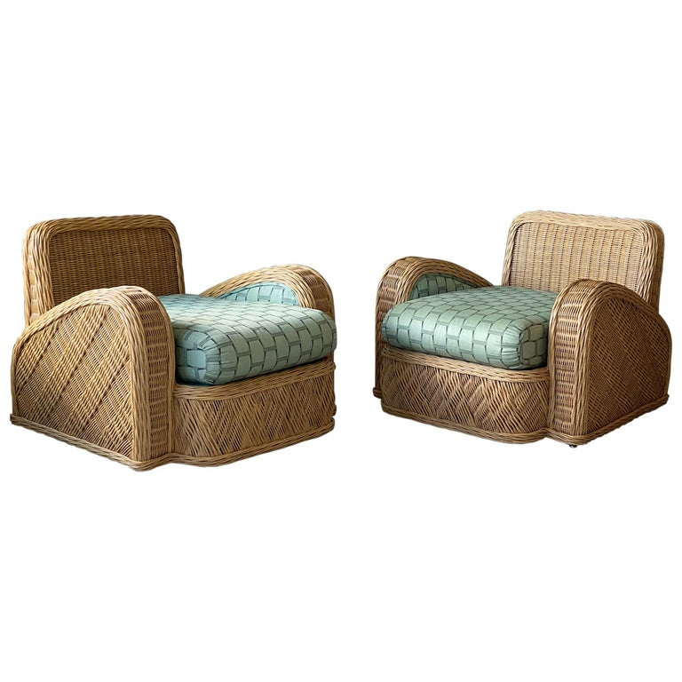 Jay Spectre, Lounge Chairs, Rattan / Wicker Fabric, Century United States, 1980s For Sale