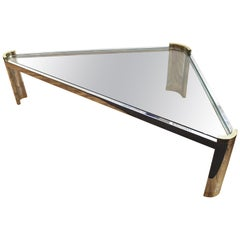 Jay Spectre Modernist Coffee Table with Triangular Frame