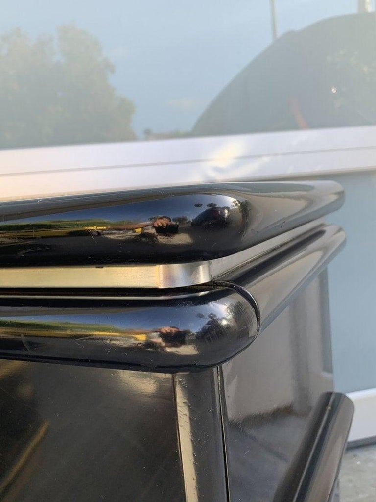 Jay Spectre Nightstands in Black Lacquer and Brushed Chrome Plinth In Fair Condition For Sale In Los Angeles, CA