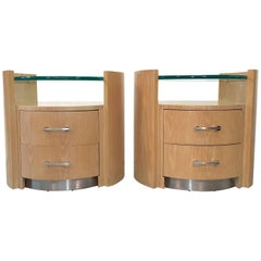 Jay Spectre Pair of Eclipse Nightstands for Century