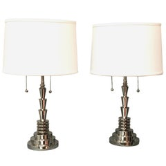 Jay Spectre Pair of Polished Nickel Table Lamps by Hanson