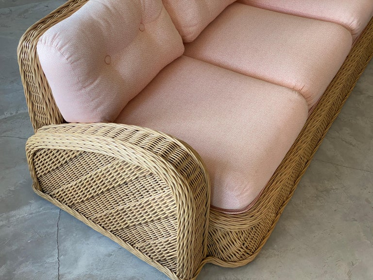 Modern Jay Spectre, Sofa, Rattan / Wicker, Fabric, Century United States, 1980s For Sale