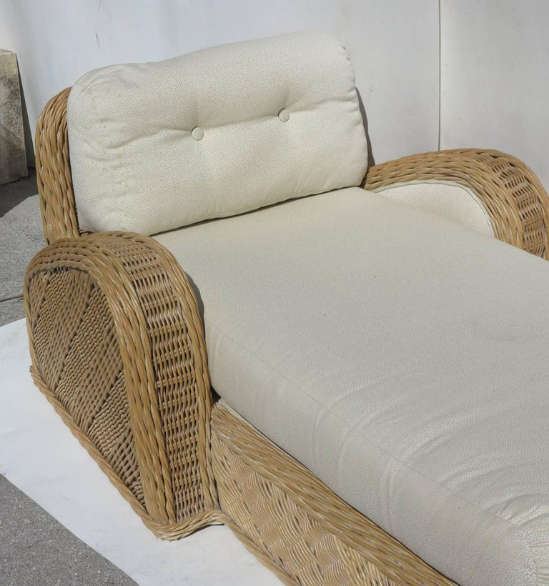 Jay Spectre Steamer Wicker Chaise Longue Chair For Sale 1