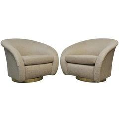 Milo Baughman Swivel Chairs on Brass Bases