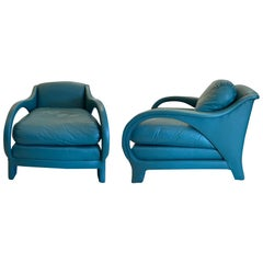 Jay Spectre Tycoon Leather Lounge Chairs a Pair