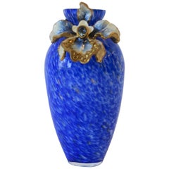 Jay Strongwater Blue White and Gold Art Glass Vase