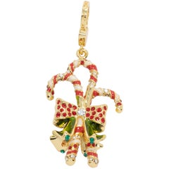 Jay Strongwater Christmas Candy Cane Charm,  Red and White Crystals and Enamel