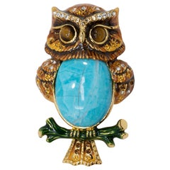 """Jay Strongwater """"Delightful"""" Turquoise Owl Pin Brooch in Gold, Amber Crystals"""