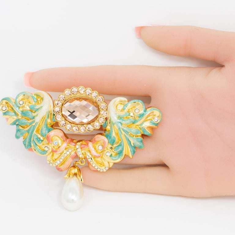 Contemporary Jay Strongwater Disney's Beauty and the Beast Baroque Romance Pin Brooch For Sale