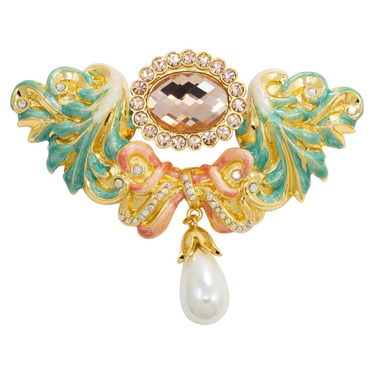 Jay Strongwater Disney's Beauty and the Beast Baroque Romance Pin Brooch For Sale