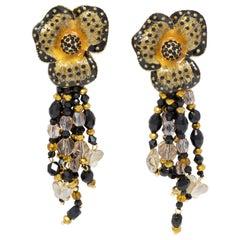 Jay Strongwater Enchanted Garden Drop Crystal Strand Enamel Flower Clip Earrings