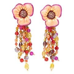 Jay Strongwater Enchanted Garden Drop Crystal Strand Enamel Flower Post Earrings