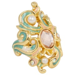 Jay Strongwater Gold Beauty and the Beast Baroque Cocktail Ring, Enamel, Crystal