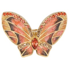 Jay Strongwater Gold Butterfly Painted Enamel and Crystal Cocktail Ring