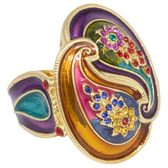 Jay Strongwater Gold Double Paisley Raised Cocktail Ring, Enamel, Crystals