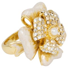 Jay Strongwater Gold Embellished White Clover Cocktail Ring, Enamel, Crystals