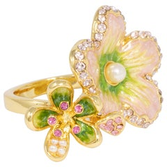 "Jay Strongwater Gold ""Spring Blossom""  Enamel and Crystal Green Flower Ring"