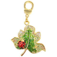 Jay Strongwater Lead & Ladybug Charm in Gold, with Enamel and Crystals