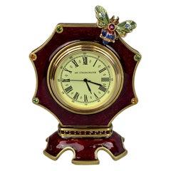 Jay Strongwater Octagonal Dumont Bee Desk Clock in Red Enamel-Swarovski Crystals
