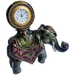 Jay Strongwater Ornate Elephant Clock Polychrome Enamel with Swarovski Crystals